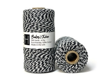 tag tie 20 or 50 metres Fine Cotton bakers twine BLUE candy Stripe  gift wrap