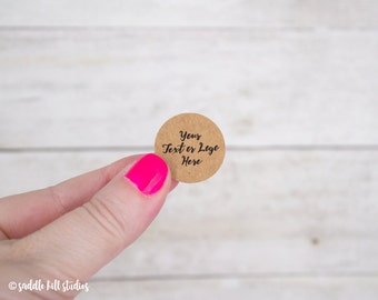 "Custom Stickers - Custom Labels - 1"" Circle Stickers - Set of 120 - Personalized Labels - Kraft Stickers - S0107-1"