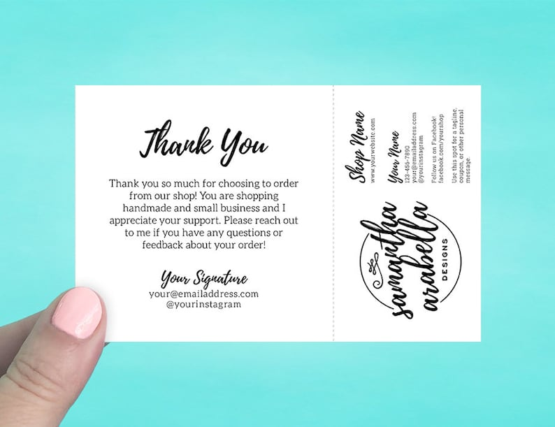 821fa95e9d7e5 Note Cards with Tear Off Business Card | Thank you cards | Order Note Cards  | Business Cards | Custom Note Cards | Shipping Supplies