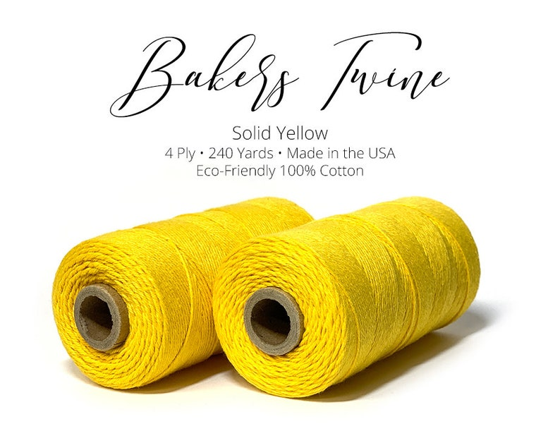 4 Ply Bakers Twine Gift String Packaging Twine 240 Yard Roll Made in the USA 100/% Cotton Solid Yellow