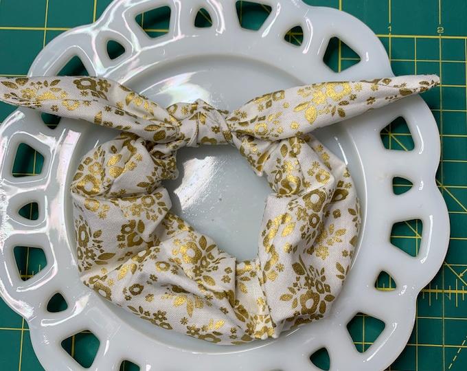 Golden Floral  Bow Tie Scrunchie