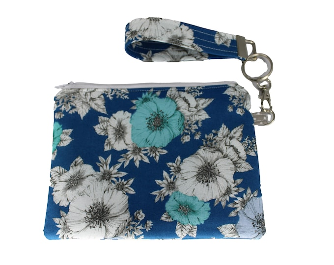 Teal Flower Carly Wristlet
