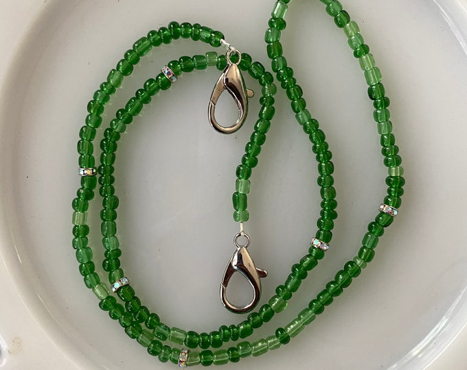 Face Mask Beaded Chain Clear Green