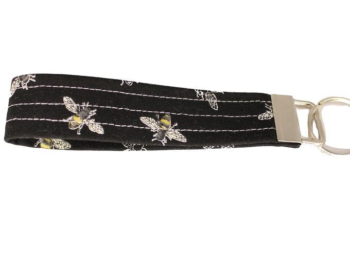 Black Bee Fabric Keychain
