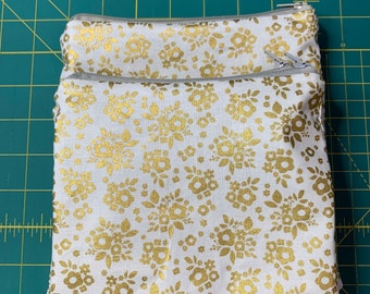 Reusable Snack and Sandwich Bag Gold Floral
