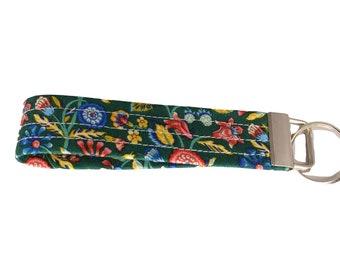 Liberty Garden Green Floral Fabric Keychain