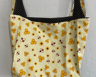 Light Yellow Bee Reversible Market Bag