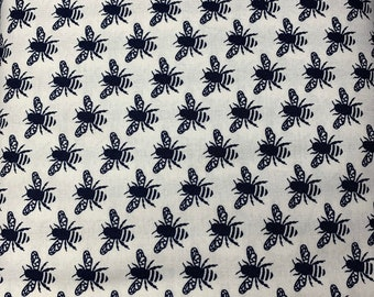 Face Mask Navy Blue Bee on White