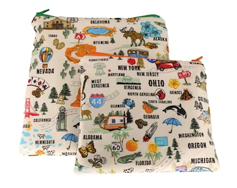Reusable Snack and Sandwich Bag 50 States