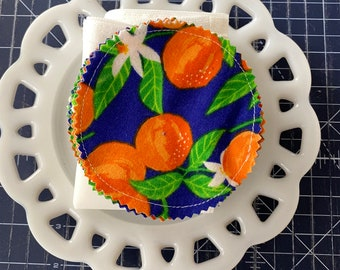 Reusable Cotton Rounds Oranges on Blue