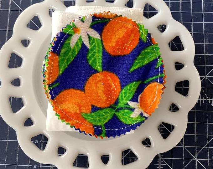 Reusable Cotton Rounds Oranges on Blue