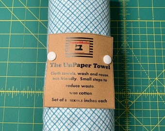 Reusable Unpaper Towel Blue Grid