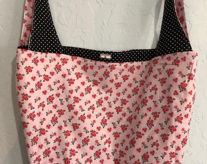 Pink and Black Floral Reversible Market Bag