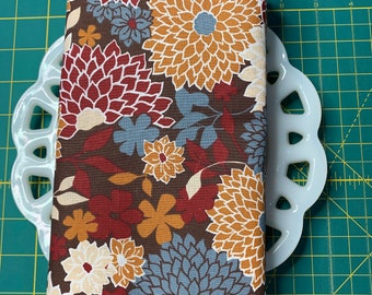 Burgundy and Brown Floral Cloth Napkin