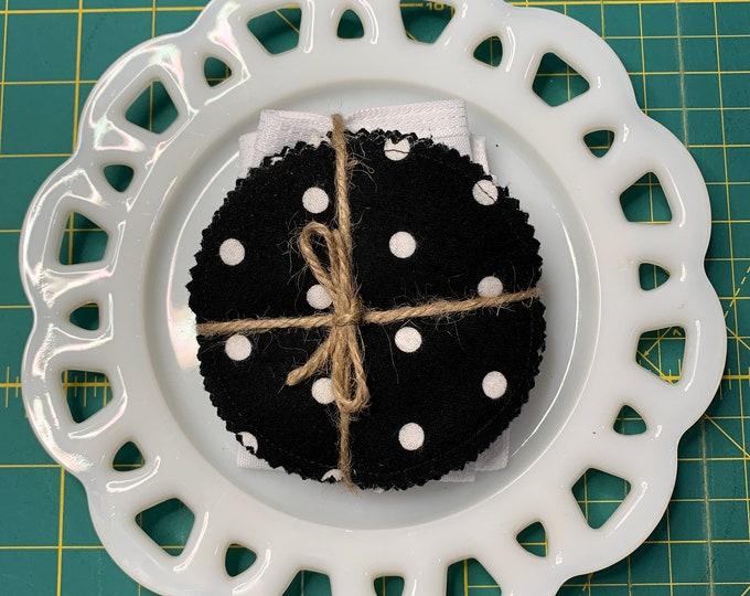 Reusable Cotton Rounds Black Polka Dot
