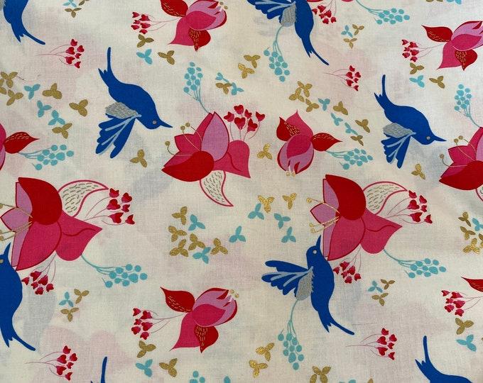 Hummingbird with Gold Flowers Cloth Napkin