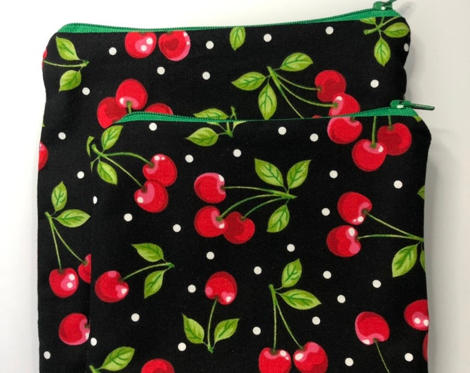 Reusable Snack and Sandwich Bag Cherry