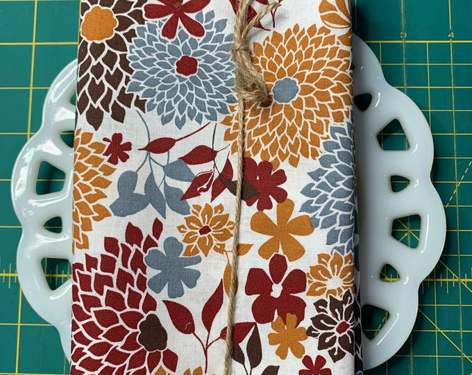White and Burgundy  Floral Cloth Napkin