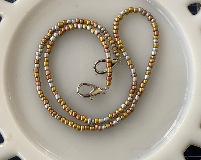 Face Mask Beaded Chain Copper Gold and Silver