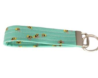 Teal Bee Fabric Keychain