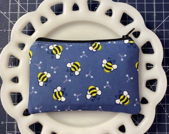 Denim Blue Bee Coin Purse