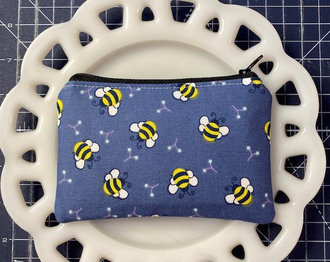 Denim Blue Bee Coin Purse