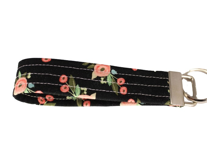 Black and Pink Floral Fabric Keychain