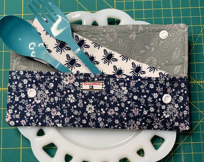 Navy Floral Cutlery Case