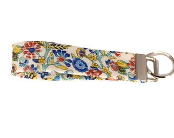 Liberty Garden White Floral Fabric Keychain