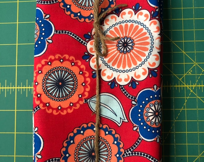 Blue, Red and Coral Flower Cloth Napkin