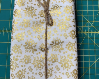 Gold and White Floral Cloth Napkin
