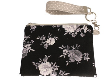Black and Grey Floral Carly Wristlet