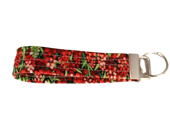 Black and Red Floral Fabric Keychain