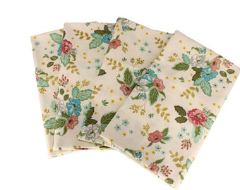 Vintage White Floral Cloth Napkin