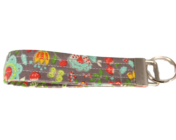 Taupe and Bright Floral Fabric Keychain