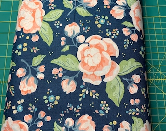 Navy Blue and Pink Floral Cloth Napkin