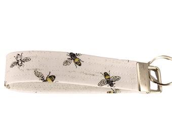 White Bee Fabric Keychain