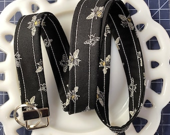 Bee's Life on Black Lanyard