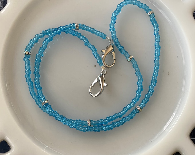 Face Mask Beaded Chain Clear Blue