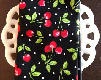 Cherry on Black Cloth Napkin