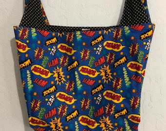 Comic Book, Super Hero Reversible Market Bag