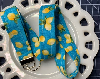 Lemons on Blue Lanyard