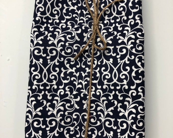 Navy Blue and White Flower Cloth Napkin