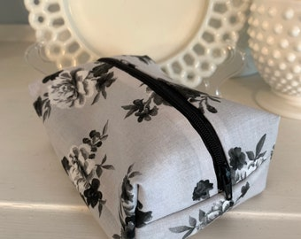 Grey and Black Floral Cosmetic Case