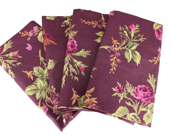 Eggplant Floral Cloth Napkin