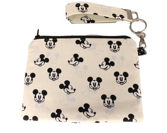 Cream Shadowed Mickey Mouse Carly Wristlet
