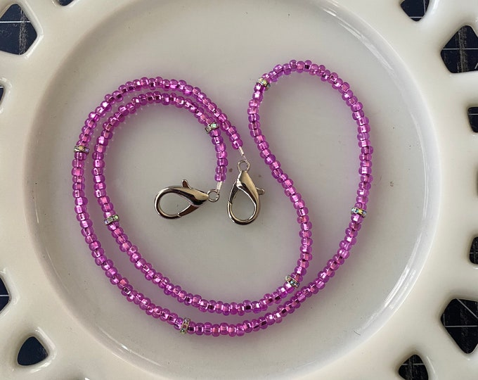 Face Mask Beaded Chain Clear Pink