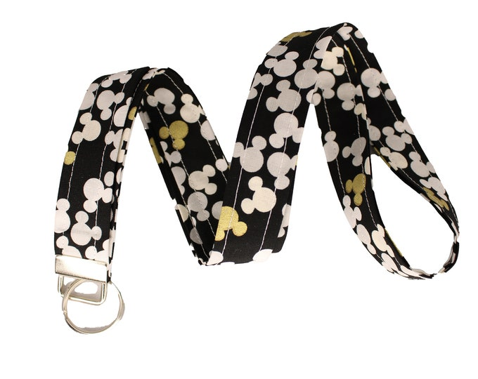 Black and Gold Mickey Mouse Lanyard