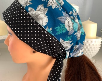 Surgical Scrub Cap, Reversible, One Size Fits all and 100% Cotton