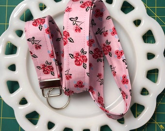 Pink and Black Floral Lanyard